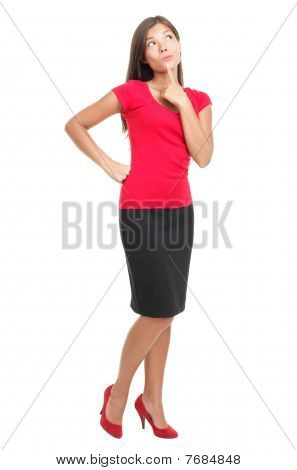 Thinking Woman Isolated