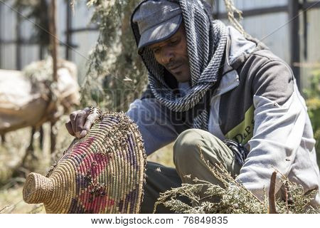 OROMIA, ETHIOPIA: NOVEMBER 6, 2014- An unidentified bee keeper moves a bee hive without protective clothing in Ethiopia
