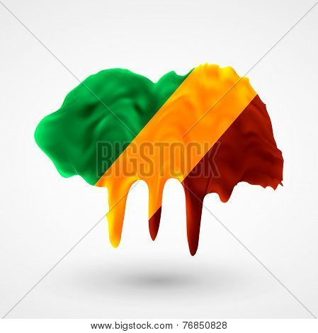 Flag Republic of Congo painted colors
