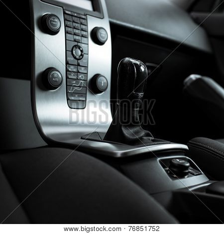 Modern car interior (color toned image; shallow DOF)