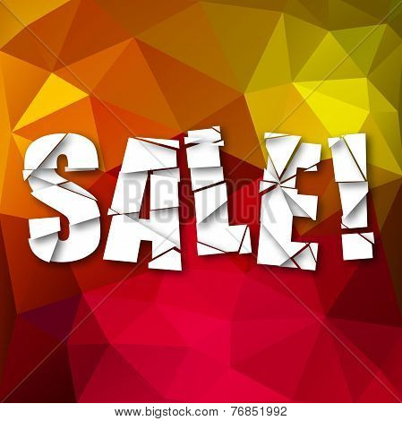 Sale Cut Paper Poster on bright background