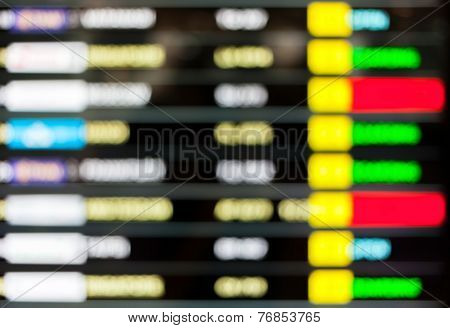 Blurred Background Of Display Schedule Board In An Airport With Departure And Arrival Times.