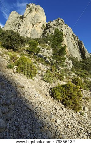 Rocky pinnacle in Puig Campana Mountains, Alicante, Valencia, Spain