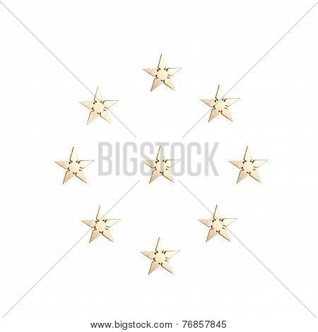 Golden Stars isolated over white background