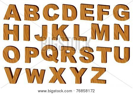 Upper case alphabets in  wooden