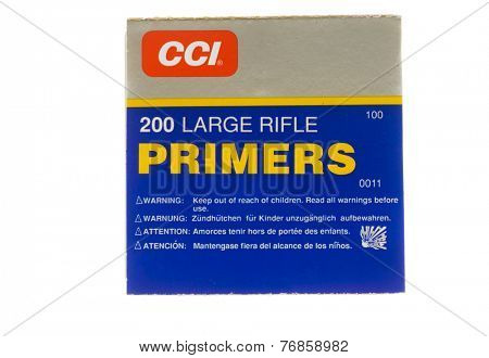 Hayward, CA - November 23, 2014: Box of CCI Large Rifle Primers