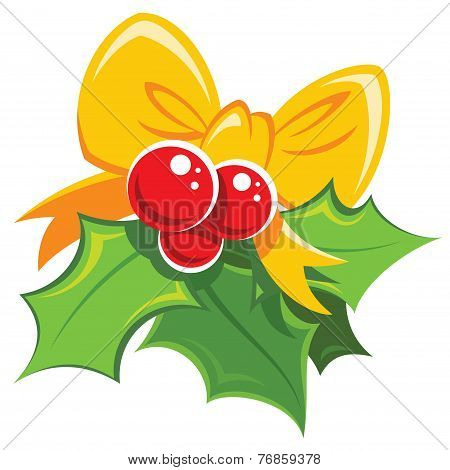 Cartoon Simple Mistletoe Red And Green Design Element With Yellow Bowtie