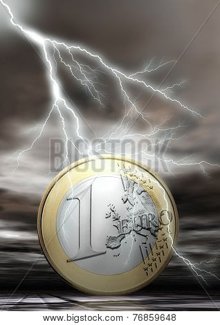 Euro Coin With Flash