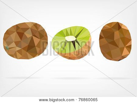 Low Poly Kiwi fruit