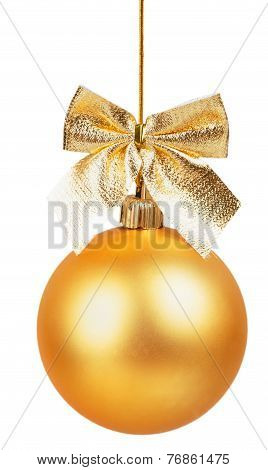 Gold Christmas Ball With Golden Bow