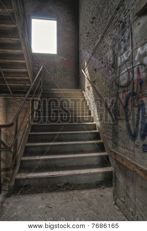 Stairwell with Graffiti