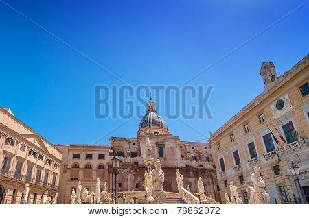 Florentine Fountain On Piazza Pretoria In Palermo