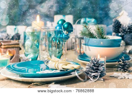 Christmas Xmas Eve Table Board Setting