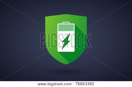 Long Shadow Shield Icon With A Battery