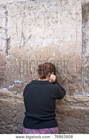 Jerusalem, Israel-march 14, 2006: Woman Prays At The Wailing Wall.