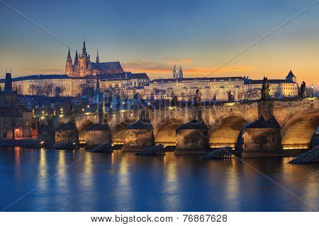 Landscape of Charles Bridge in Prague