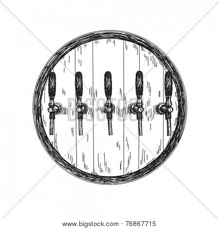 Hand drawn Wooden beer barrel isolated illustration Vector sketch