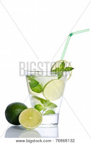 Drink With Ice Mint And Lime On White Background