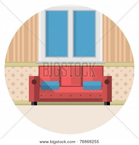 Flat vector icon for living room