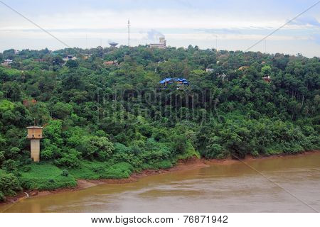 view of river Iguazu from international bridge between Brazil and Argentina