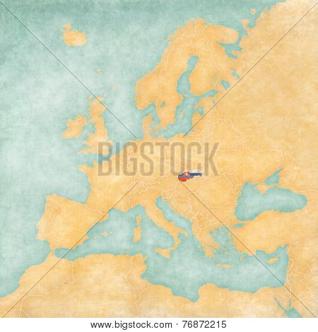 Map Of Europe - Slovakia (vintage Series)