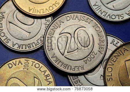 Coins of Slovenia. Slovenian 20 tolar coin.
