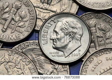 Coins of USA. Franklin D. Roosevelt depicted on the US dime coin.