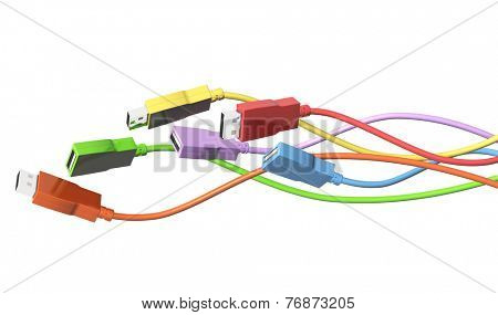Six USB cables. Isolated on white background