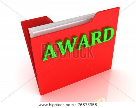 Award Bright Green Letters On A Red Folder