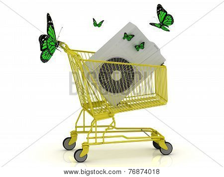 Shopping Gold Trolley, Street Conditioner And Green Butterflyes