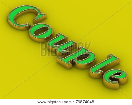 Couple - Inscription Of Golden Letters On Yellow