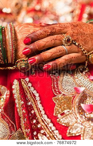 Decorative hand of bride