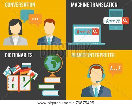 Foreign Language Translation Concept Graphics