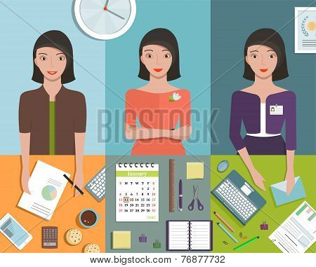 Office Manager Woman Working in Different Poses and Supplies Objects
