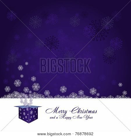 Blue and White Christmas card with gift box