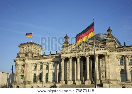 Germany Flag At Reichstag Building Berlin