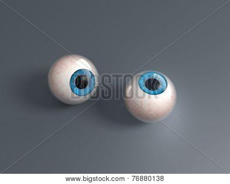 Two 3D Render Eyeballs