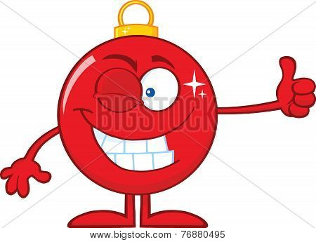 Winking Red Christmas Ball Cartoon Character Giving A Thumb Up
