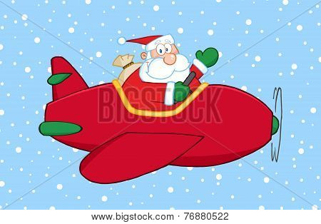 Santa Claus Flying His Christmas Plane In The Snow And Waving