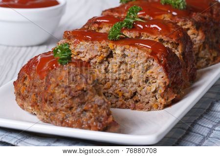 Sliced Meatloaf With Ketchup And Parsley Horizontal