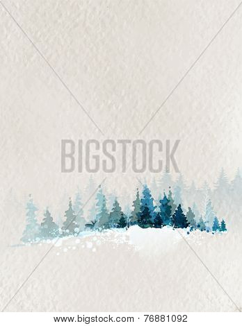 winter landscape with fir forest and deer