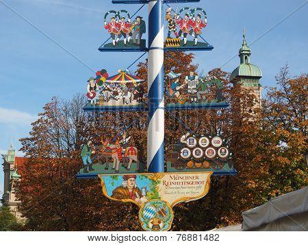 Bavarian Maypole , Viktualien Market, Munich. MUNICH, GERMANY- 01 November 2014