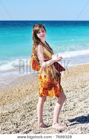 Longhaired Pretty Woman On The Beach