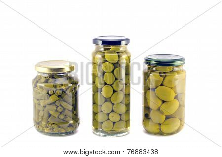Potted Preserved Canned Olives And Asparagus Beans In Glass Jars