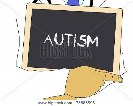 Illustration: Doctor Shows Information: Autism