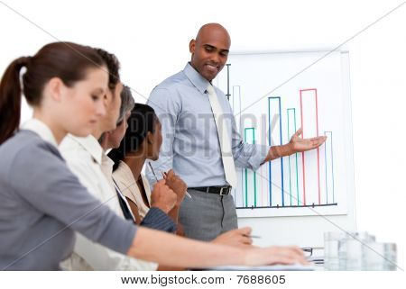 Confident Manager Presenting A Chart Explaining The Results To His Team