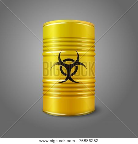 Realistic bright yellow big barrel with bio hazard sign, isolated on grey background. With place for