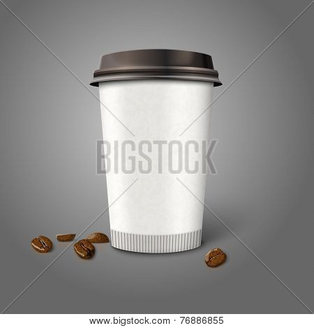Blank realistic vector paper coffee cup with beans, isolated on grey background.