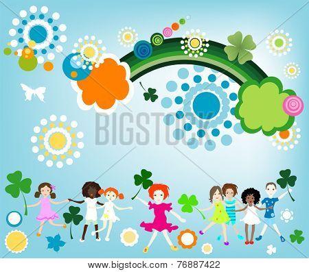 kids enjoying springtime; illustration