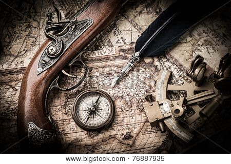 vintage still life with compass,sextant and old map. map of the 1570. Author: Abraham Ortelius (1527-1598)